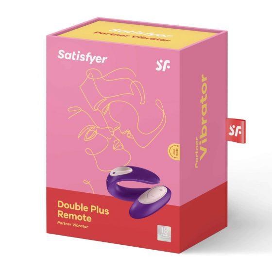 Satisfyer Double Plus Remote - nabíjecí, vodotěsný párový vibrátor na dálkové ovládání (fialový)