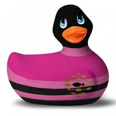 My Duckie Colors 2.0 - vodotěsný vibrátor na klitoris - proužkovaná kačenka (černo-růžová)