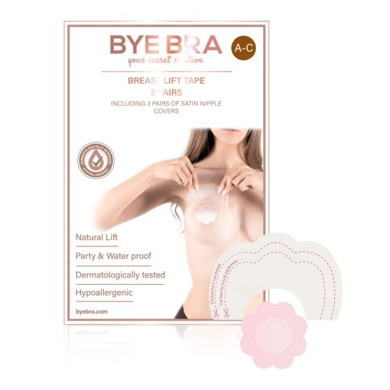 Bye Bra A-C - neviditelná náplast na zvednutí prsou - růžová (4 páry)