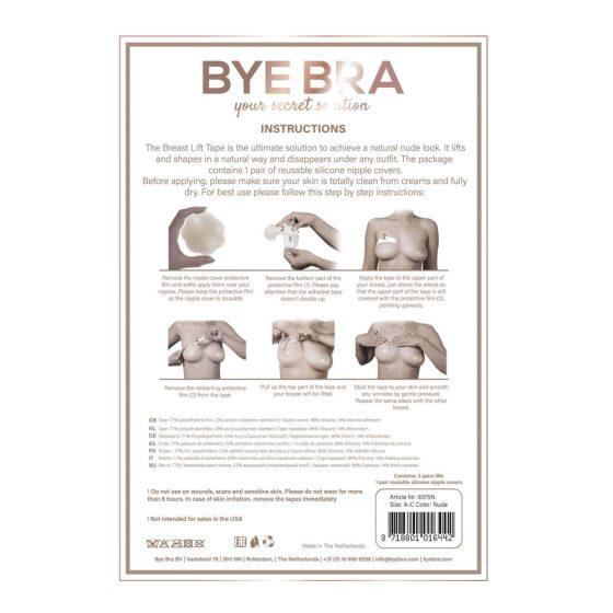 Bye Bra A-C - neviditelná náplast na zvednutí prsou - nude (4 páry)