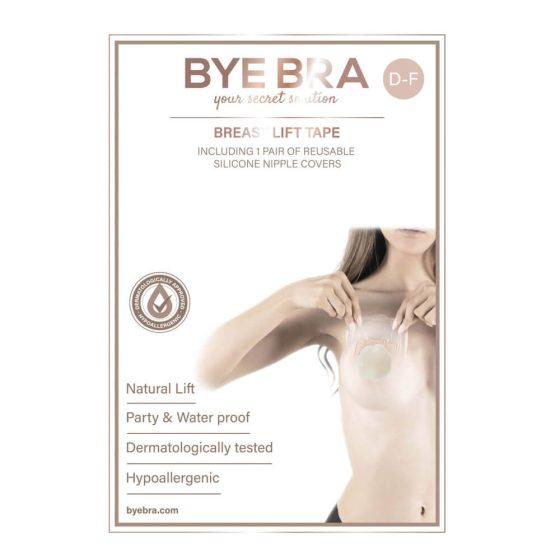 Bye Bra D-F - neviditelná náplast na zvednutí prsou - nude (4 páry)