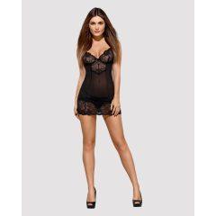 Obsessive Allura - krajková noční košilka s tangy (černá)