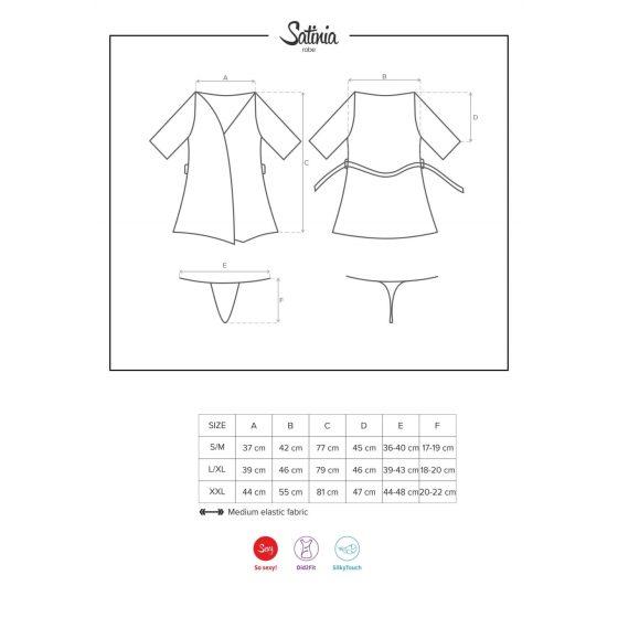 Obsessive SATIN Robe - krátký saténový župan s tangy (černý)