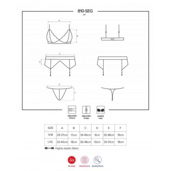Obsessive 810-SEG-2 - sada krajkového spodního prádla (bílá)