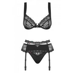 Obsessive Heartina - Květinkový souprava spodního prádla se srdíčkovým ozdobou (černá)