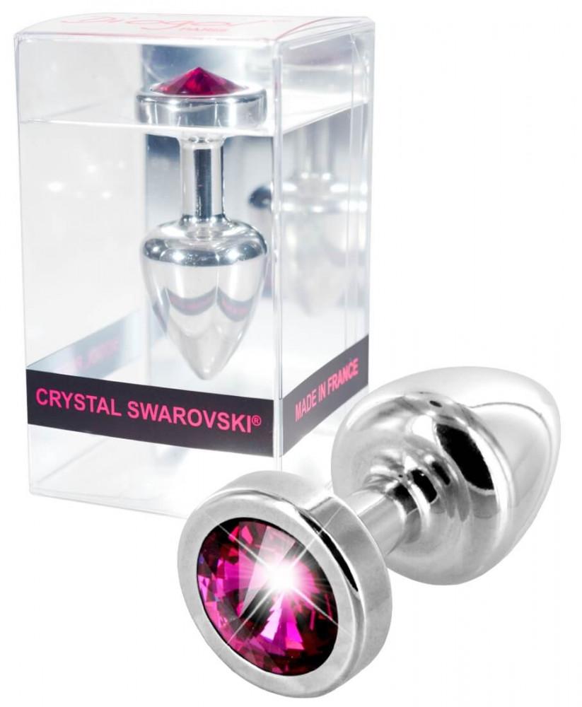 DIOGOL Anni Pink Stone Silver Anal plug - análny kolík s pink kryštálom (strieborný 2,5cm)