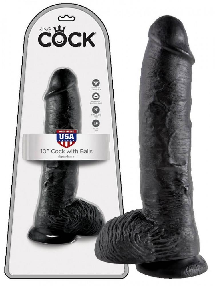 King Cock 10 dildo s varlaty (25cm) - černé